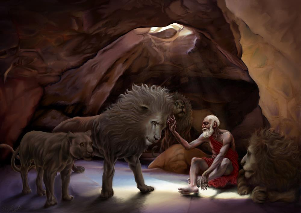 Daniel in the lions den | Artworks by Ben L Kissell