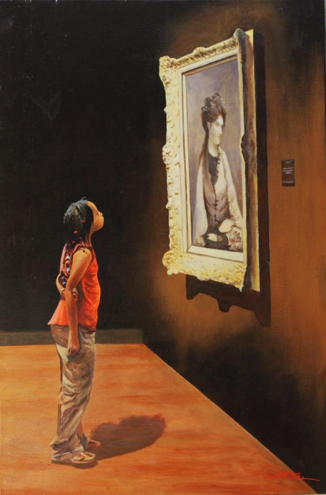 girl in museum | tom's paintings