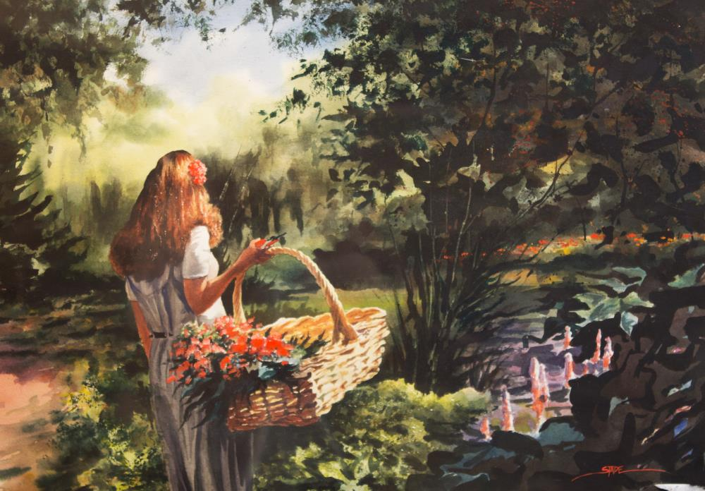 Girl Holding Basket | tom's paintings