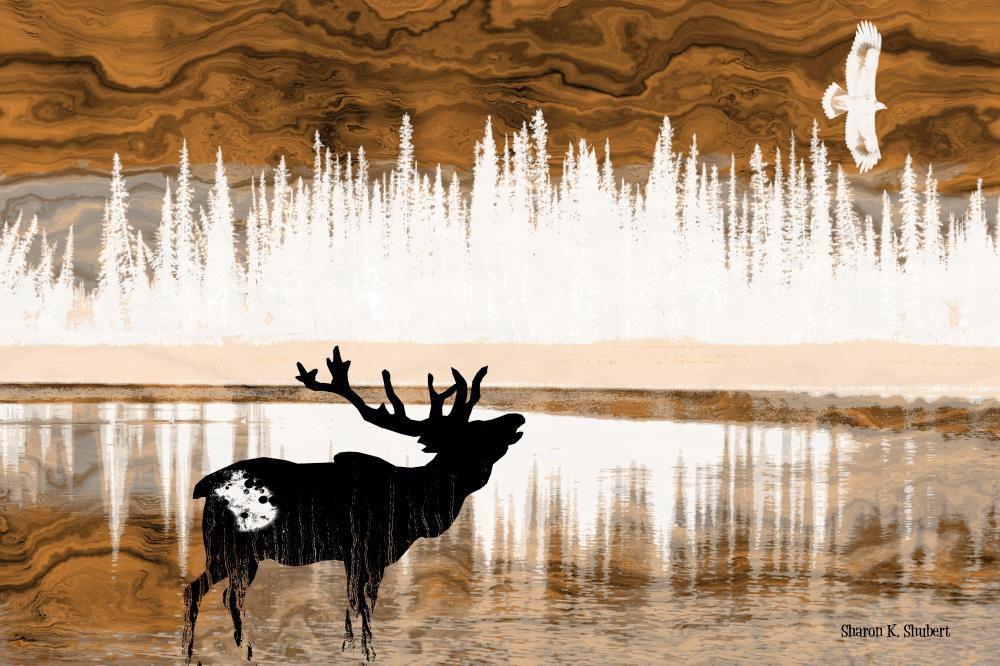 Elk At The River | Sharon K. Shubert, Artist