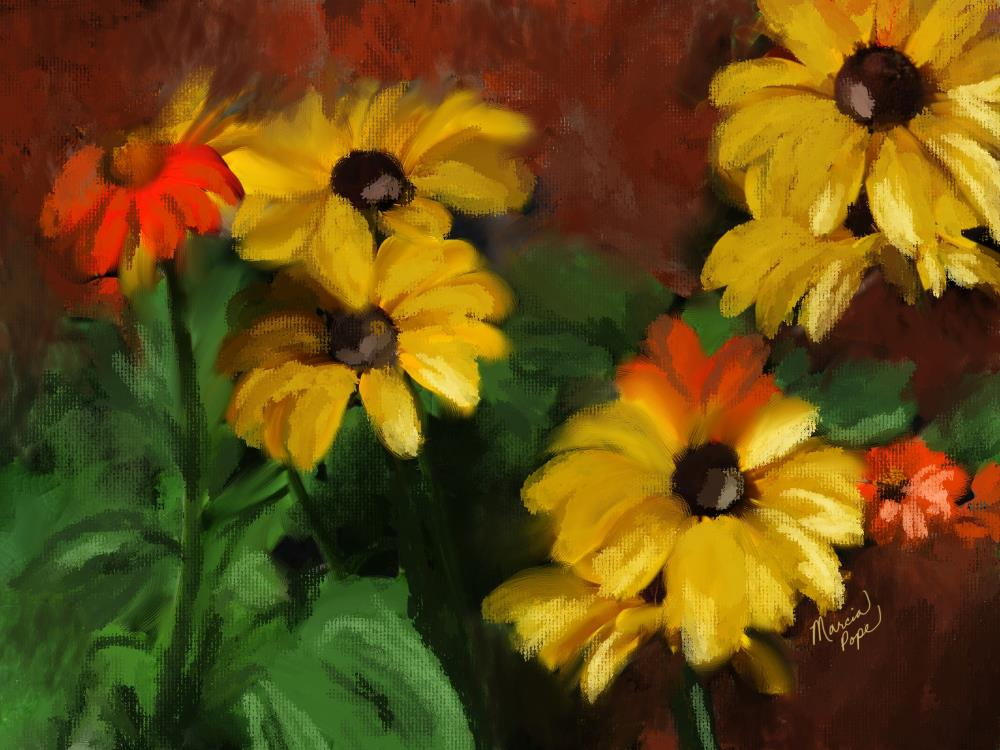 Yellow and Orange Flowers | Spare Moments Art