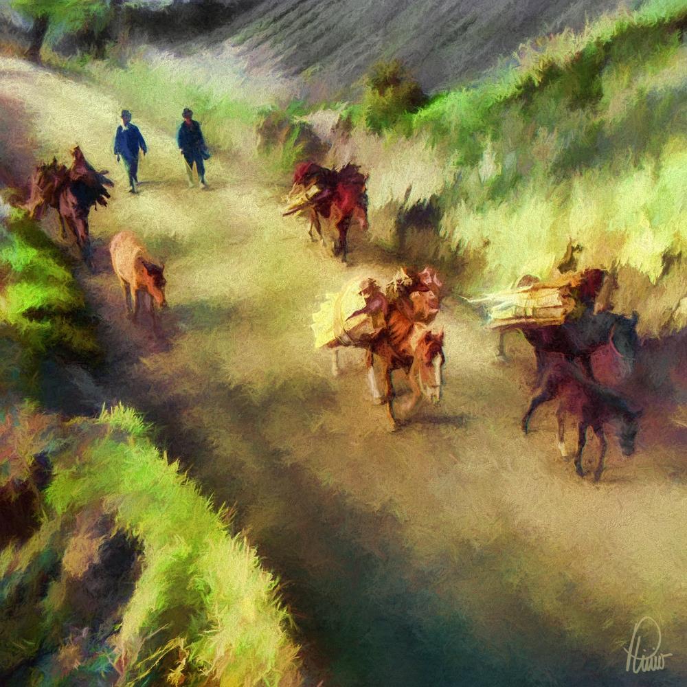 Peasants carrying firewoo... | Plinio Carvajal Fine Art ...
