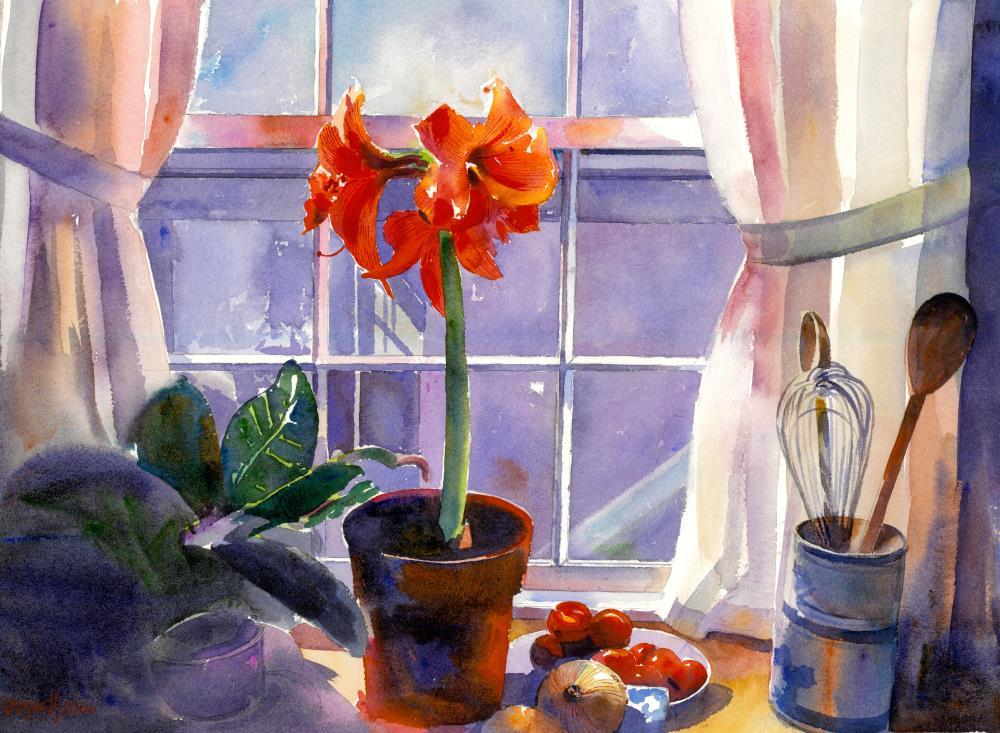 Red Amaryllis in Window | Bozarth Watercolors