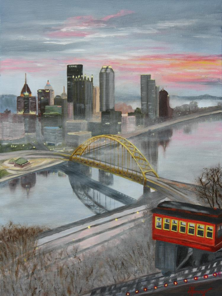 Sunrise in Pittsburgh | Laurie Henry Fine Art