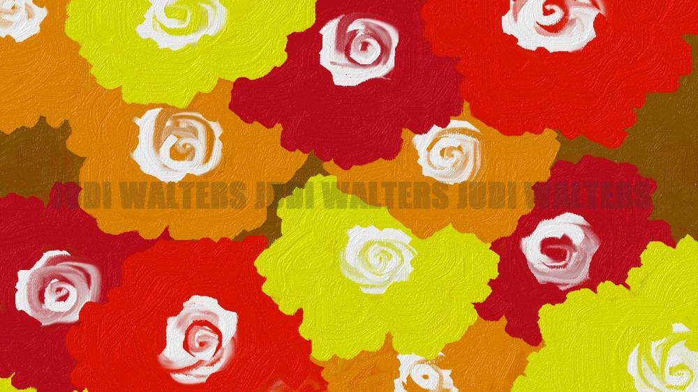Flowers6-RedMulti | Judi Walters Originals