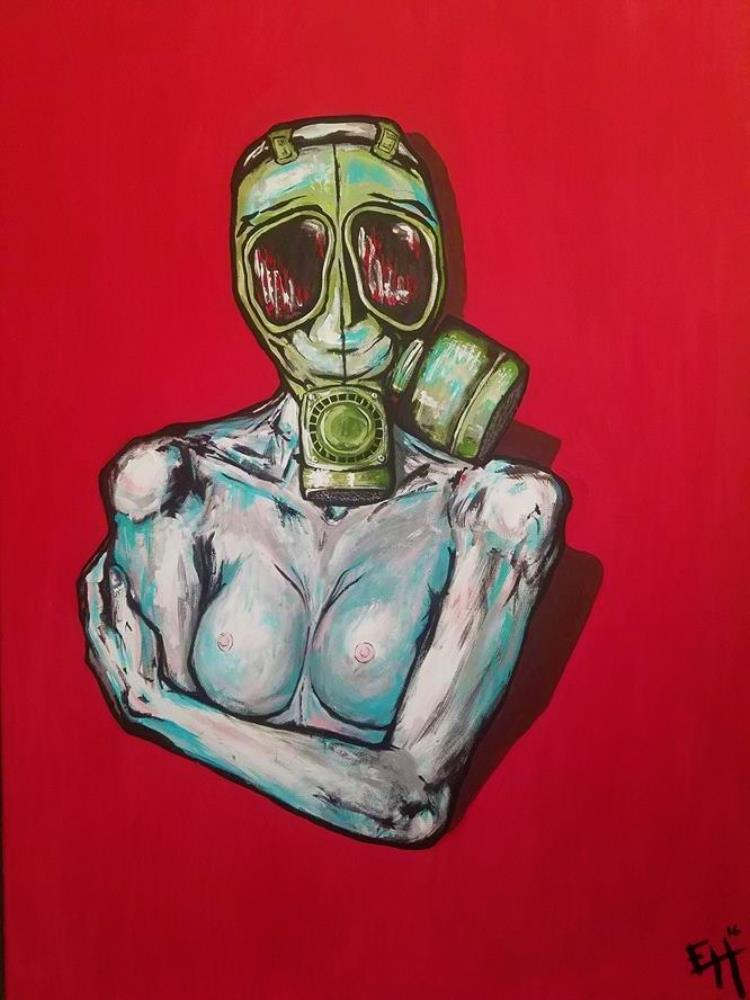 Gas Mask in Red | E. Halburnt Art and Such