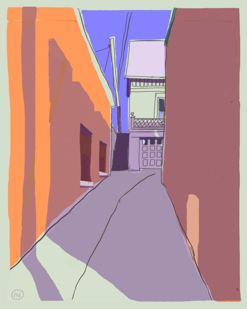Alley off Canal | Paintings: Traditional Wa...