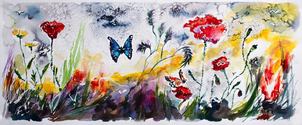 Panoramic-Poppies and But...   Ginette Fine Art