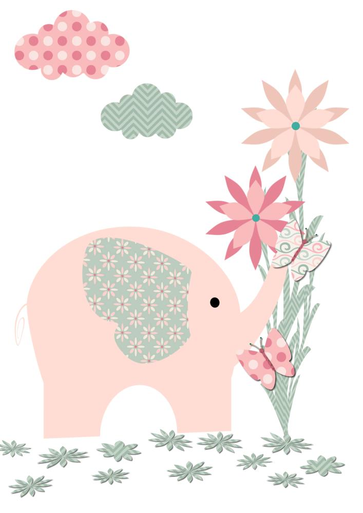 PINK & GREY BABY ELEPHANT... | Kangaroo Kids Designs