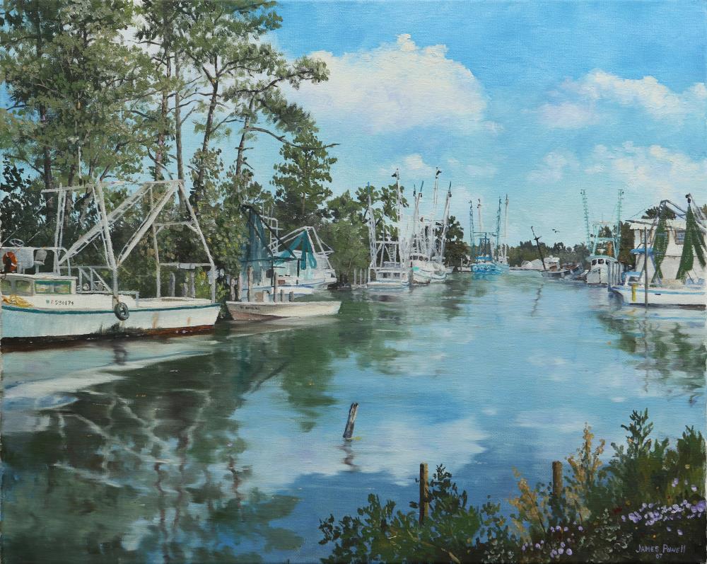 Shrimp Fleet at Coden | James Powell Oil Painting...