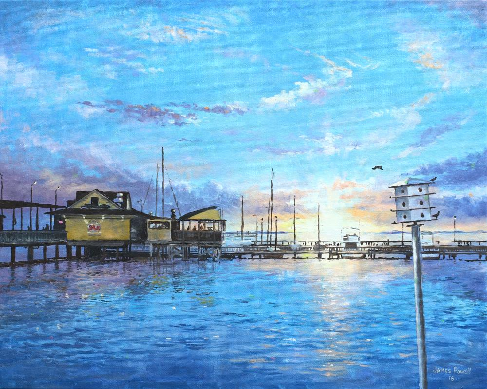 Fairhope Pier at Sunset | James Powell Oil Painting...