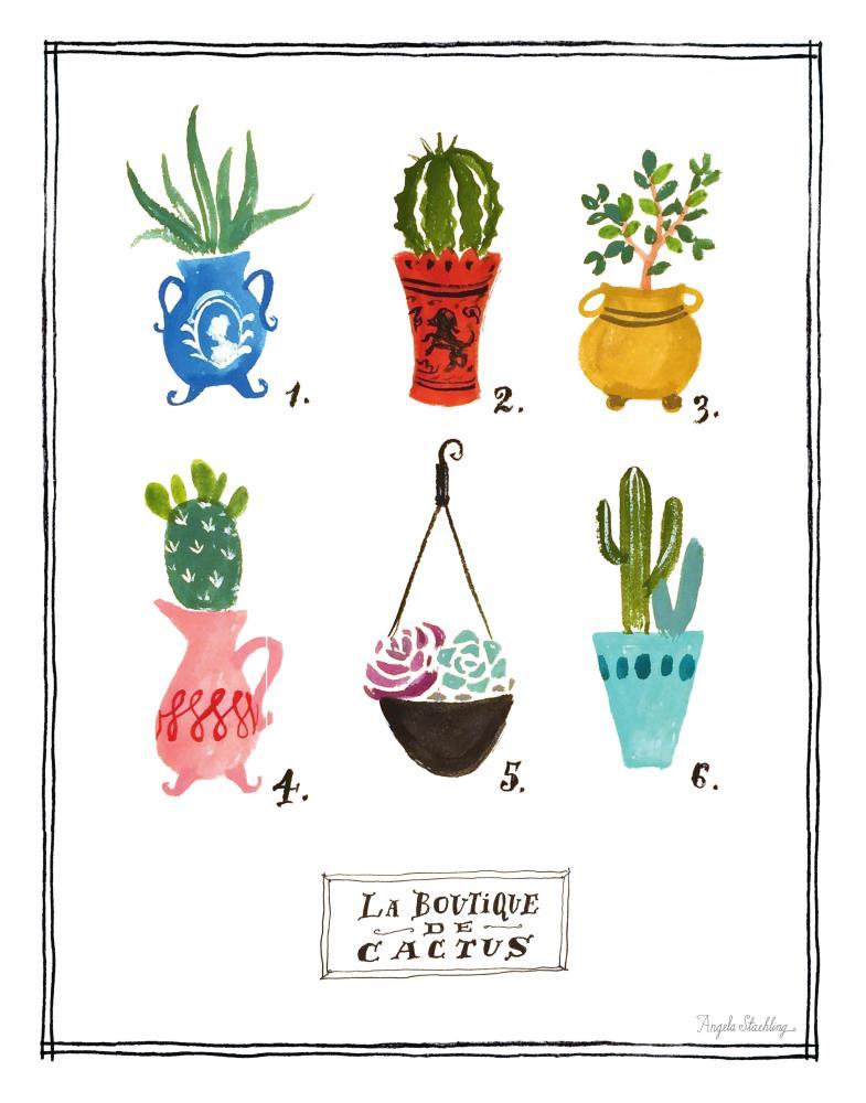 BoutiqueCactusPrint11x14   Angela Staehling Illustra...