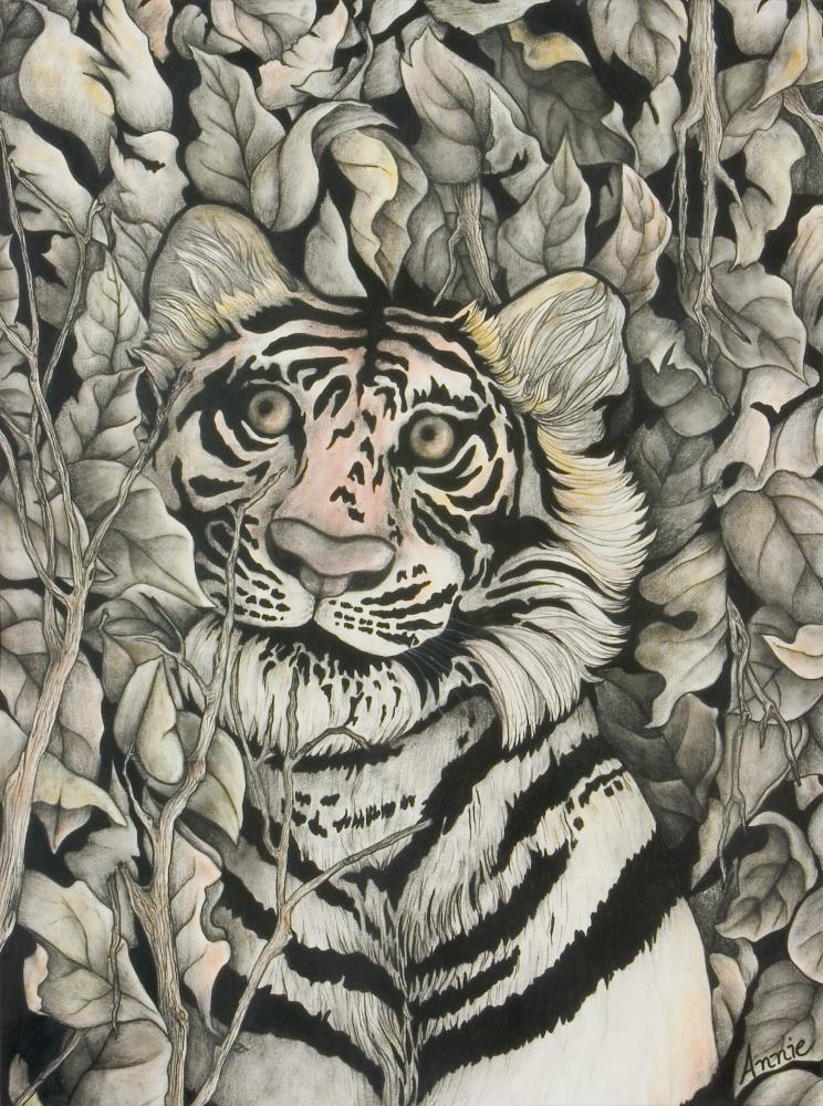 Tiger in Leaves | AnnieSyllingArt
