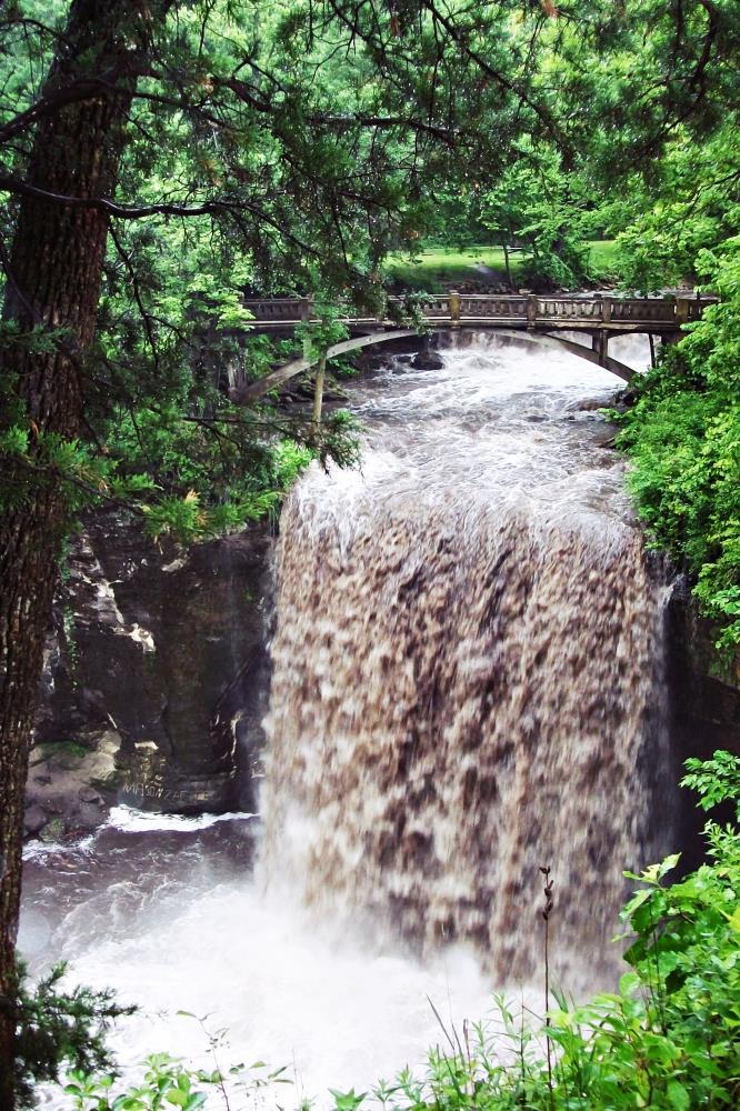 Footbridge over the falls   Art & Photography