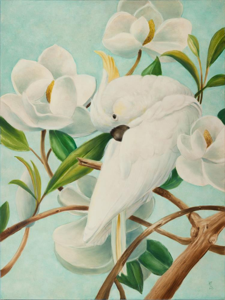 Parrot with Magnolias  | Art by Marsha Bowers