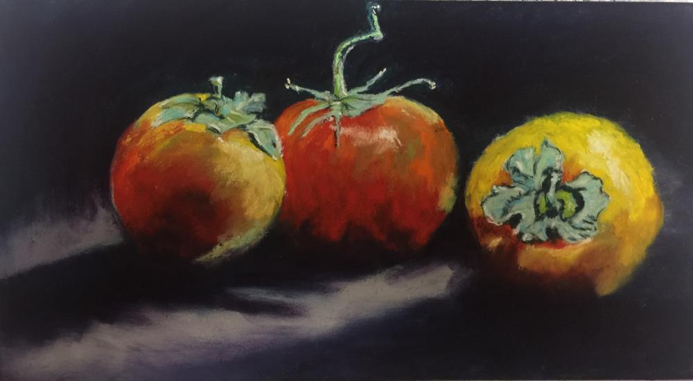 Three Tomatoes and Persim... | Donna Theresa Fine Art