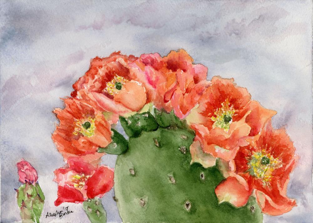 Autumn Prickly Pear bloom | Aleesha Burke Watercolors