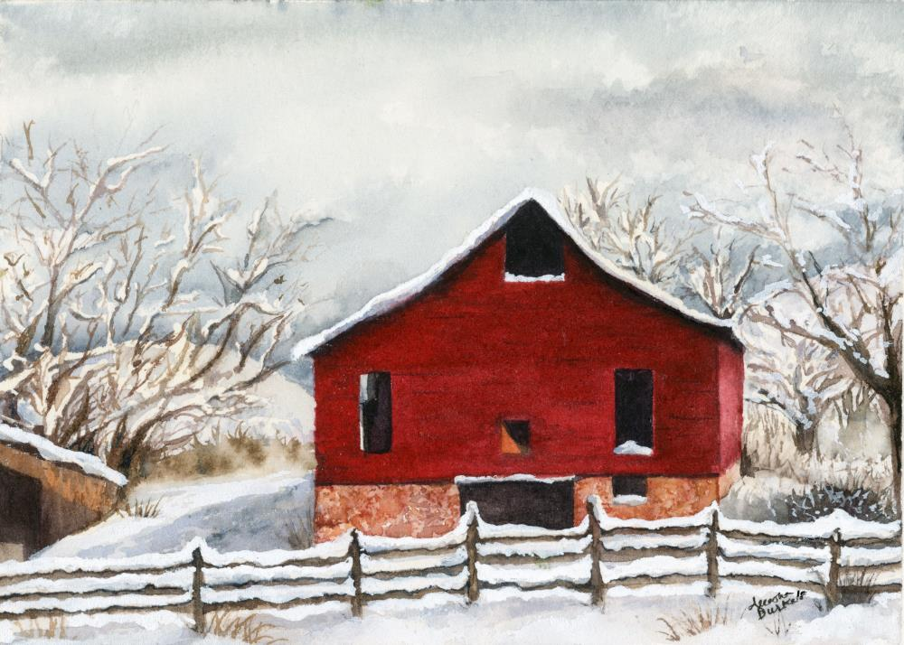 Grandpa's Red Barn | Aleesha Burke Watercolors