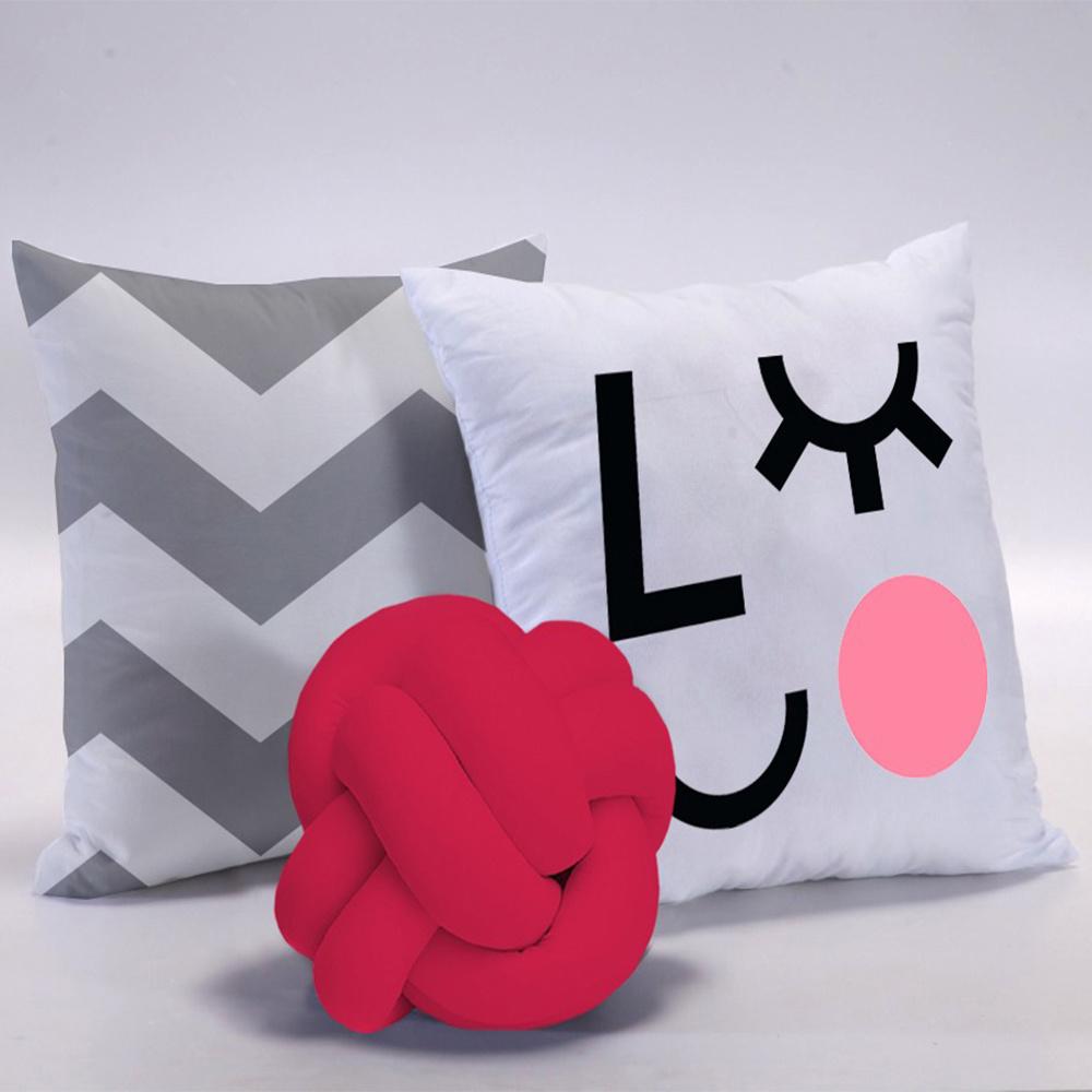 Almofada Nó Escandinavo + 02 Almofadas Microfibra 45cm x 45cm Coleção Make - Pink