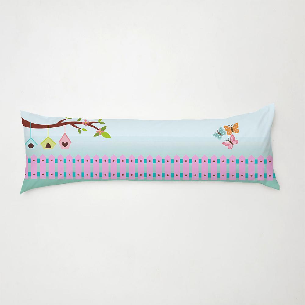 Travesseiro De Corpo Aconchego 0,90cm X 0,38cm Com Fronha Microfibra Estampado - Borboleta