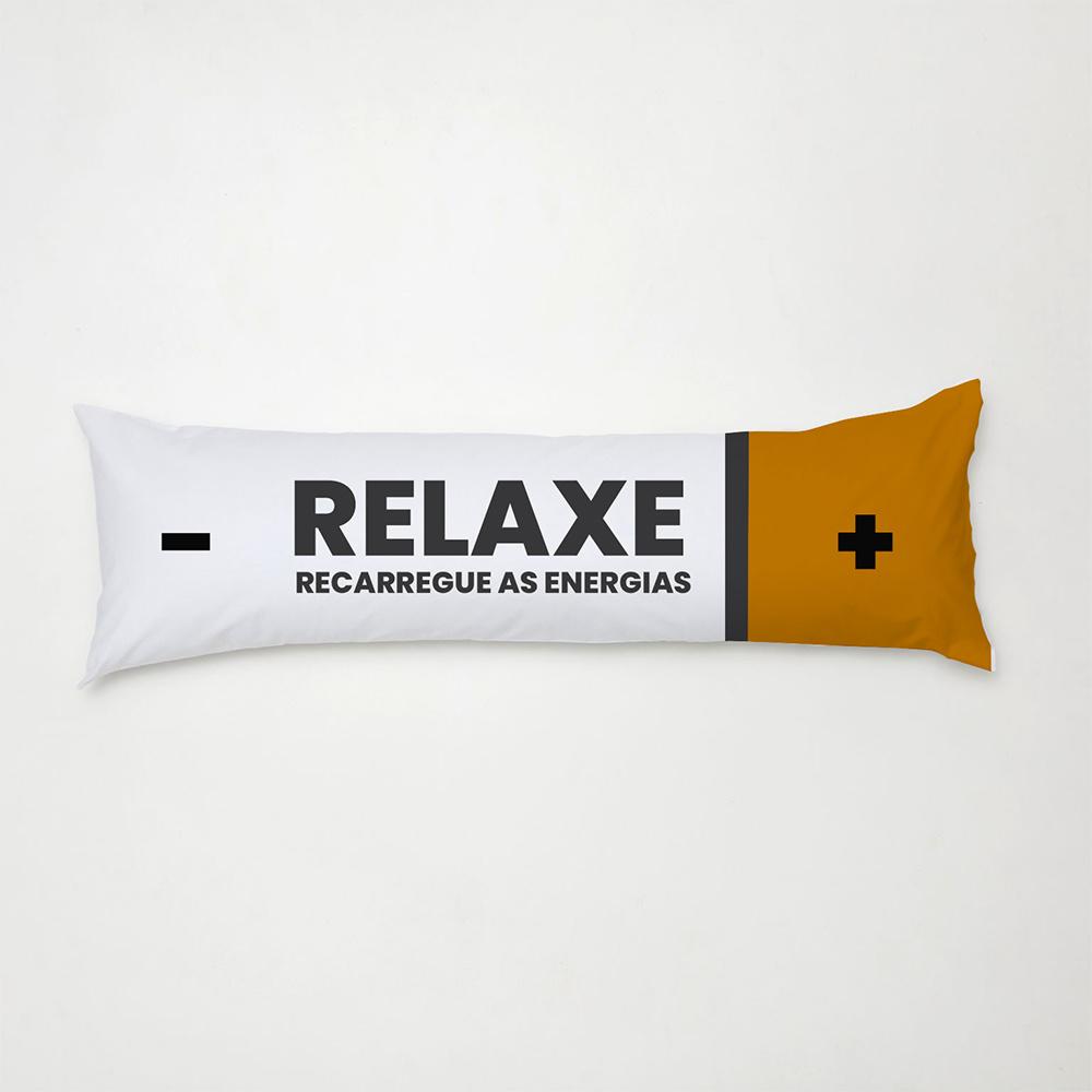 Travesseiro De Corpo Aconchego 1,30m X 38cm Com Fronha Microfibra Estampado - Relaxe