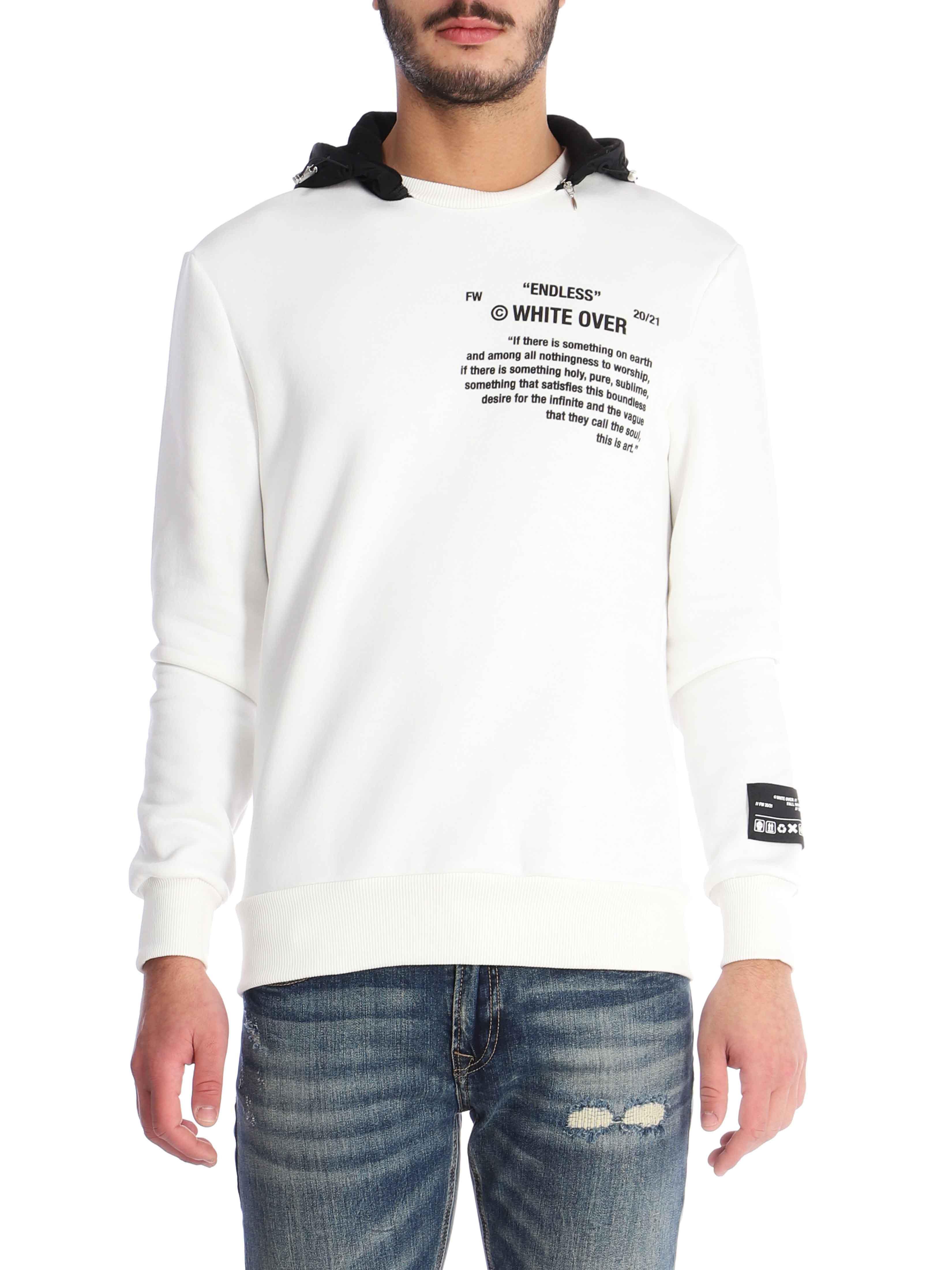 Felpa con cappuccio removibile WHITE OVER   Felpa   ART FE/00202RUSH