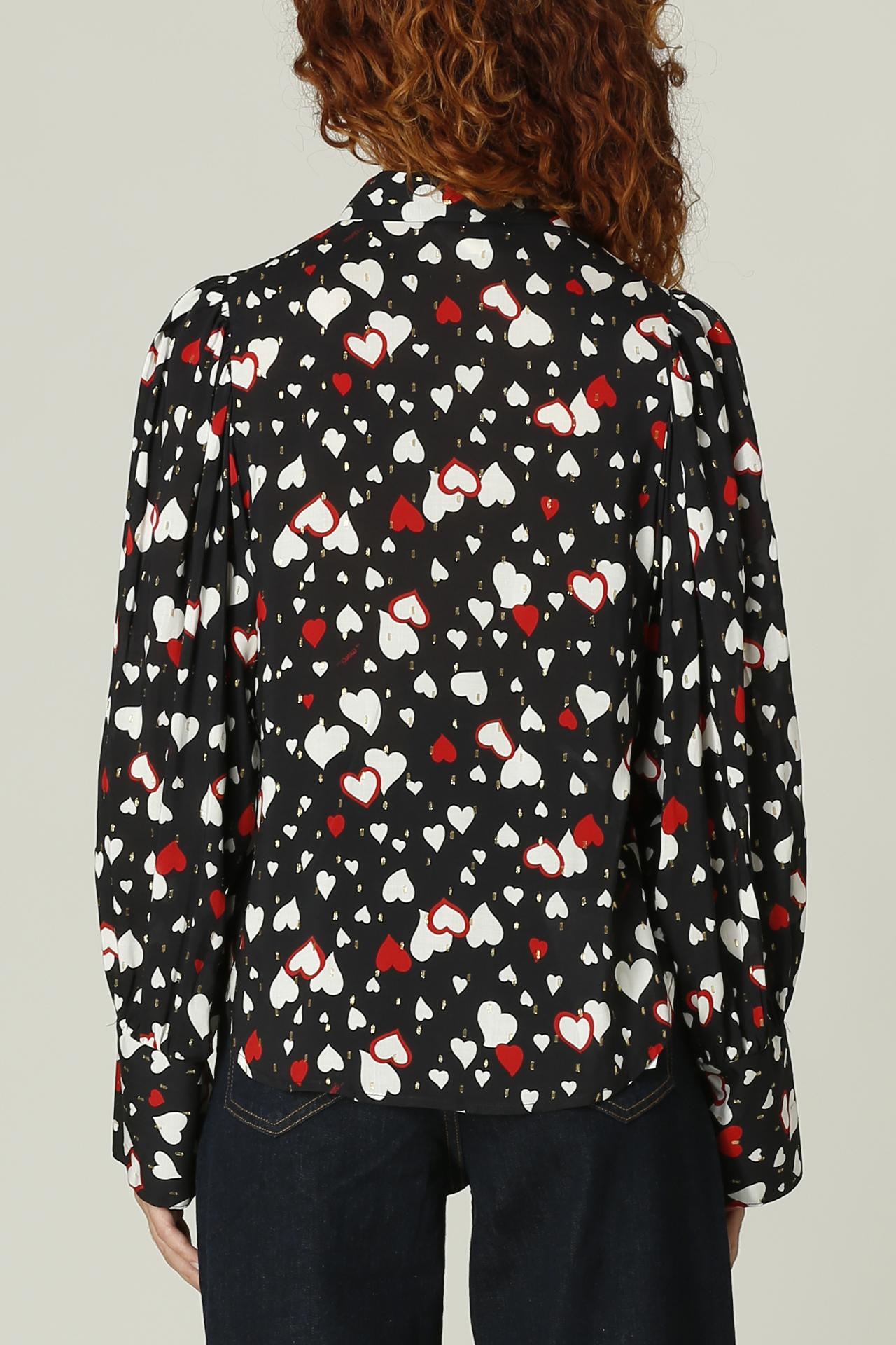 Camicia con cuori MERCI   Camicia   C318NERO