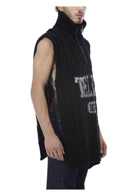 Pullover smanicato con stampa logo TELFAR | Maglione | FW20-K-05-BKWRAP SWEATER