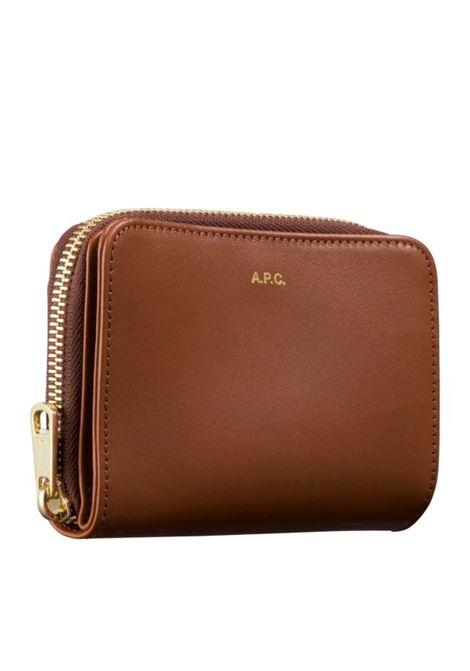 Portafoglio con logo APC | Portafogli | PXAQGF63029MARRONE
