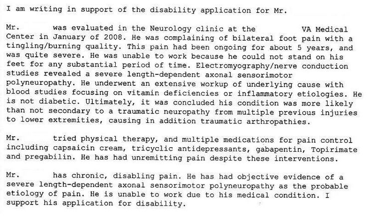 Nexus letter for peripheral neuropathy veterans benefits for Va nexus letter template