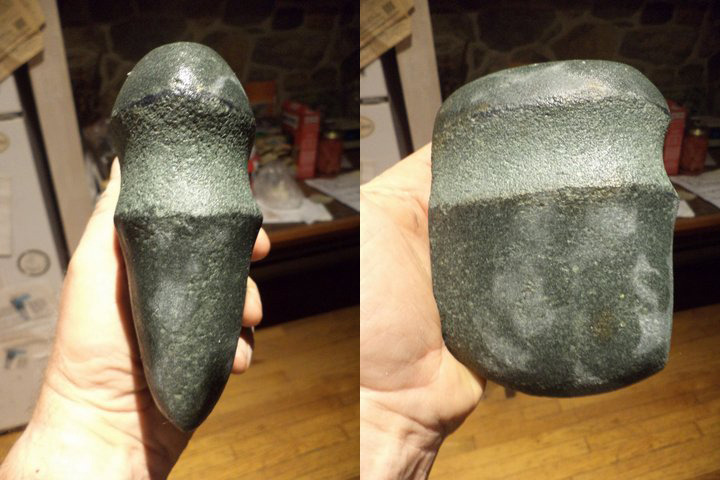 Pete's pecked and ground greenstone axe in the making