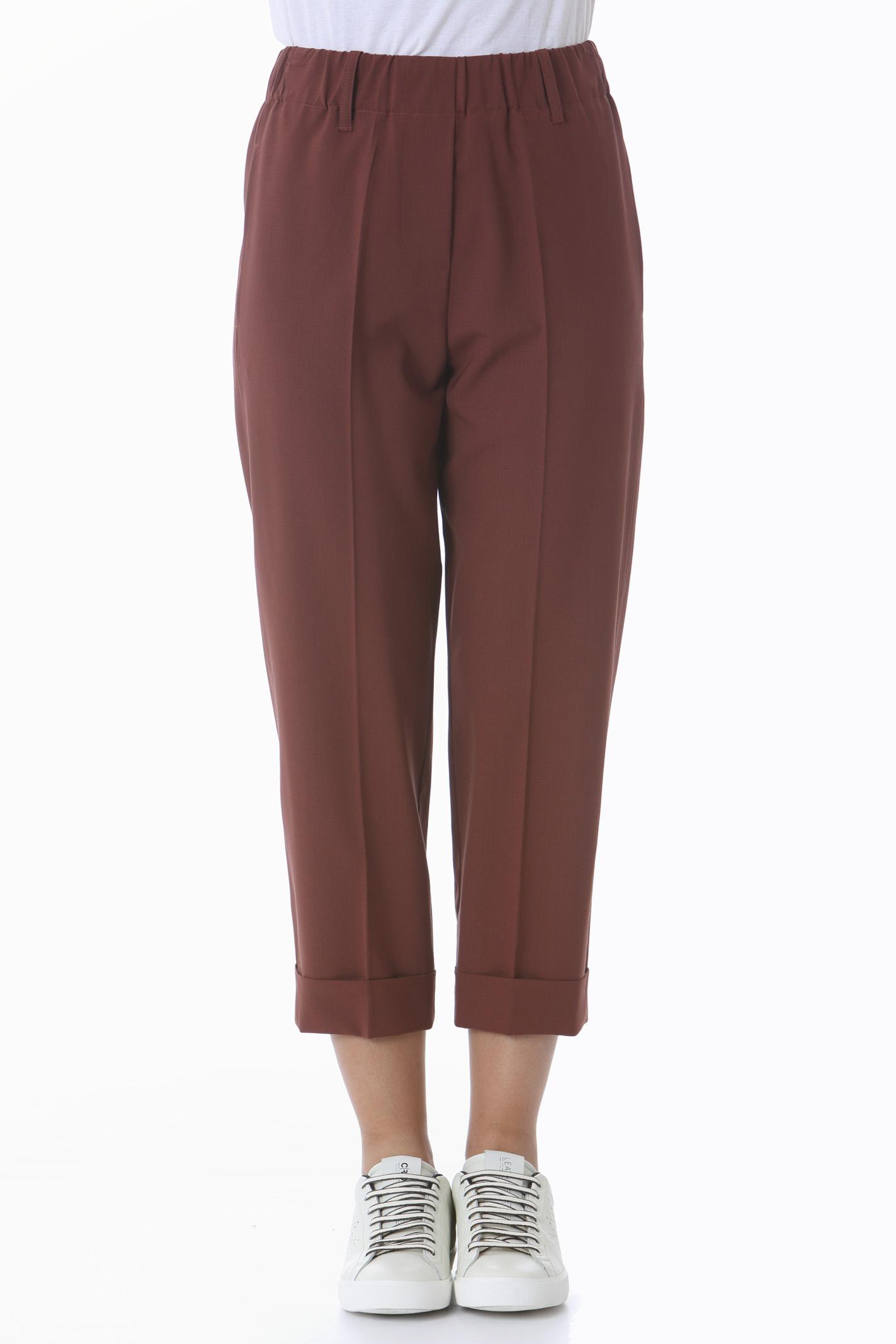 Pantalone donna tela di lana con risvolto ALYSI   Pantaloni   151135-A1035COTTO