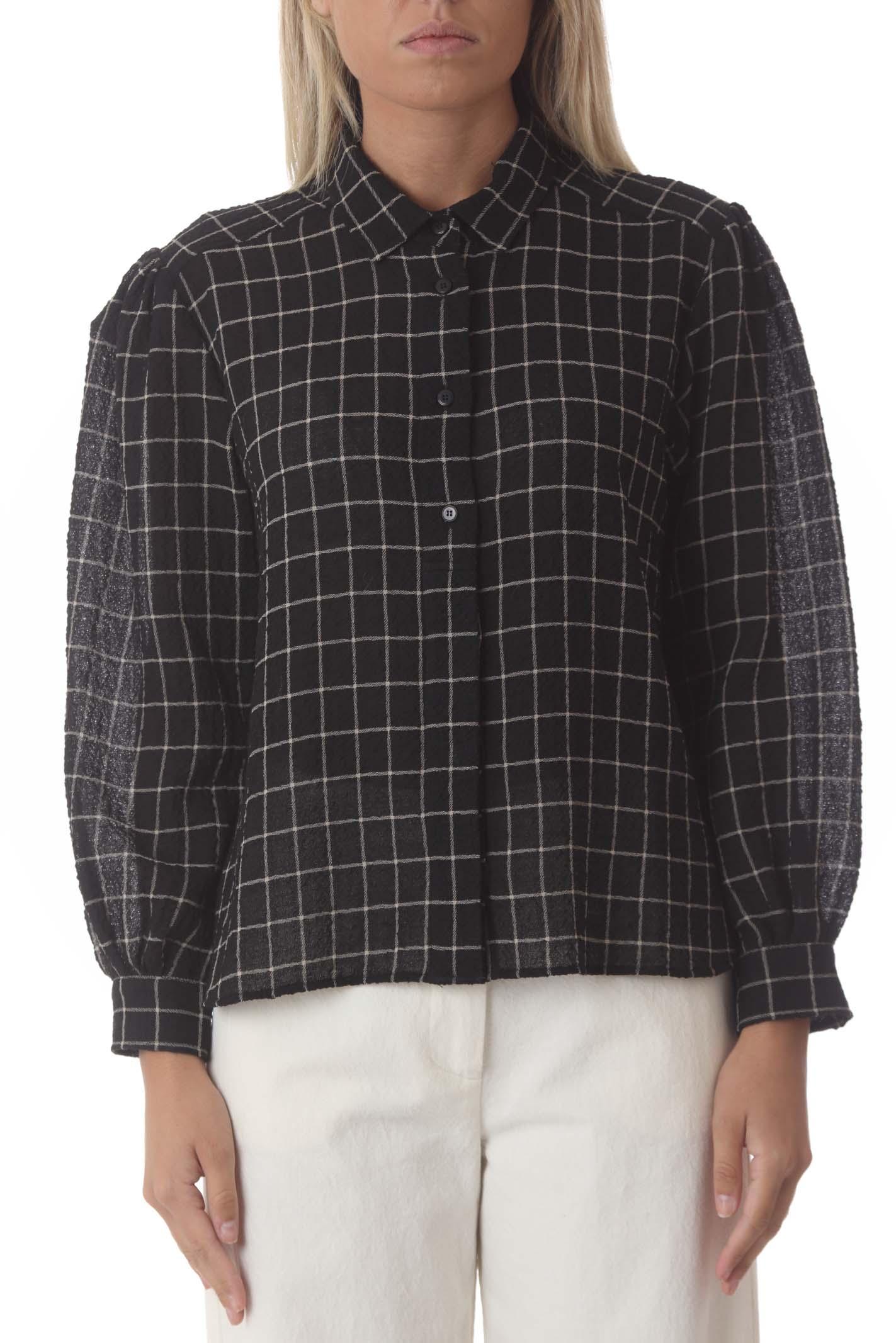 Camicia donna con colletto fantasia quadri POMANDERE | Camicie | 2121-9368/1055799