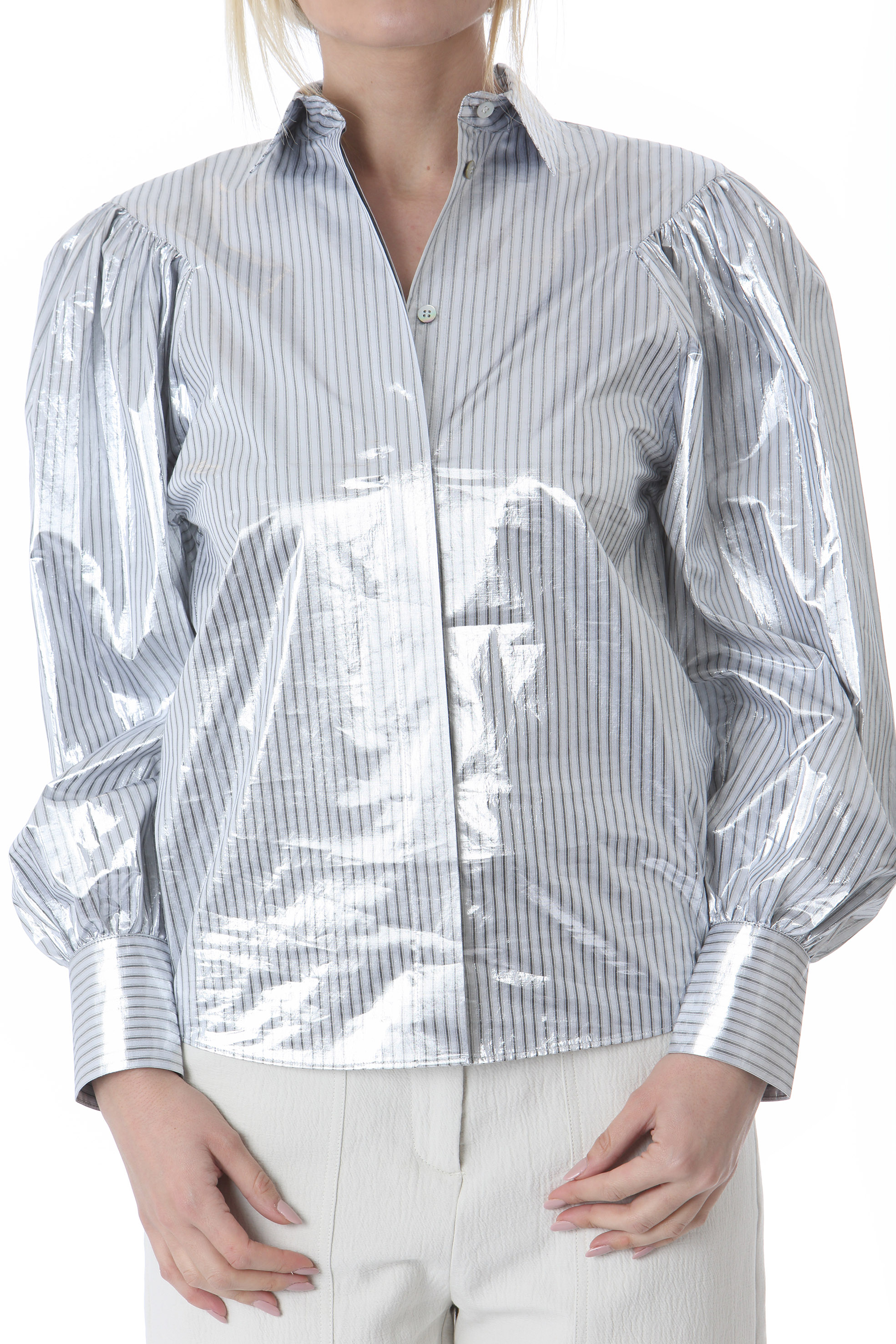 Camicia donna spalmata argento LES COYOTES DE PARIS | Camicie | MARCELLE-214-20-026593