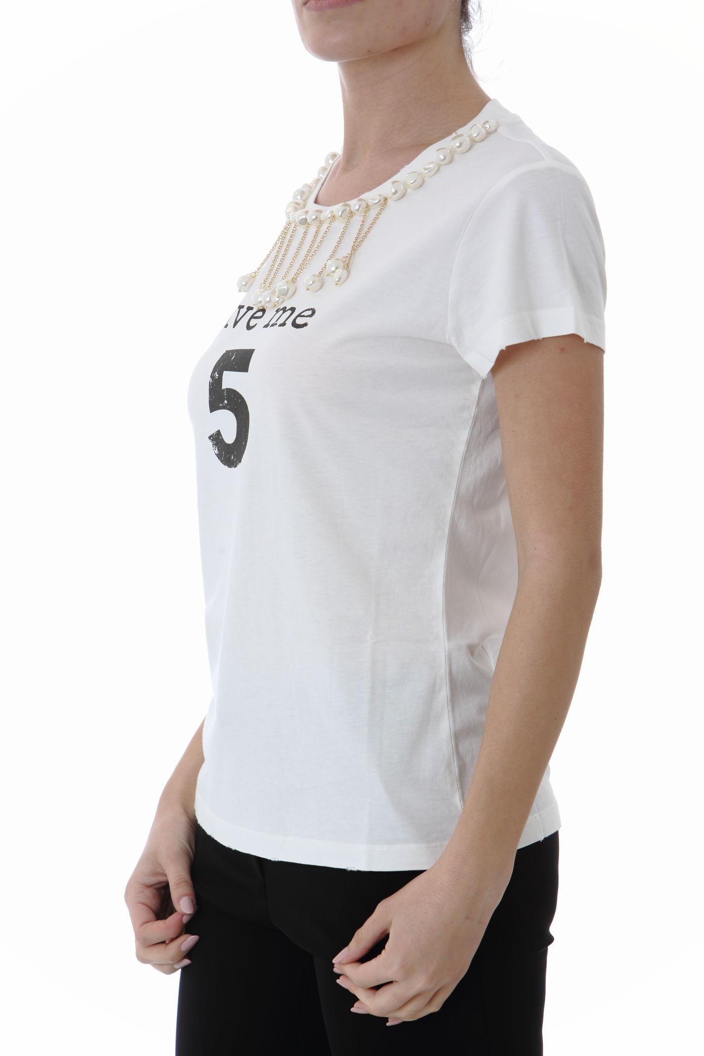 T-shirt donna con applicazione di perle PINKO | T- Shirt | 1G15NU-Y6YXZ14