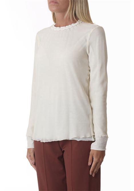 Blusa donna wool e georgette girocollo ALYSI | Bluse | 151242-A1204BURRO