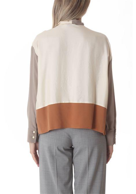 Blusa donna washed silk collo fusciacca ALYSI | Bluse | 151244-A1218BURRO