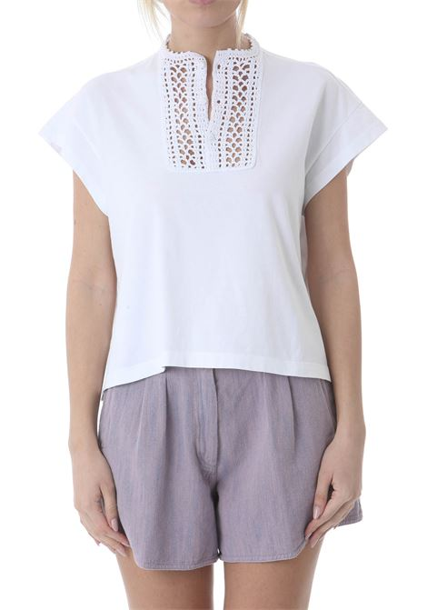 OVERSIZED CROCHET PLASTRON COTTON JERSEY FORTE FORTE | T-shirt | 8107-MYT-SHIRT0002