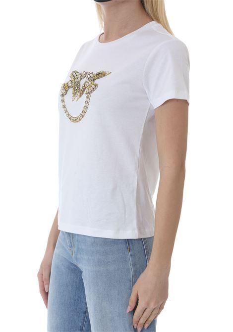T-shirt donna con ricamo lobe birds PINKO | T-shirt | 1G1610-Y4LXLZC