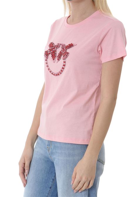 T-shirt donna con ricamo lobe birds PINKO | T-shirt | 1G1610-Y4LXO53