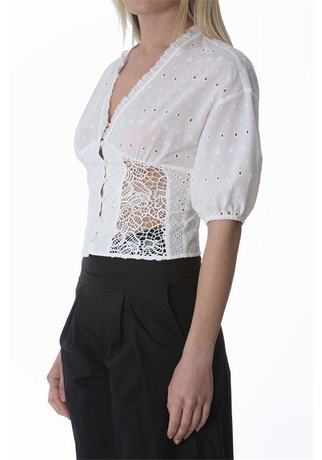 Blusa donna corta in sangallo PINKO | Bluse | 1G15YC-Y6WVZ14