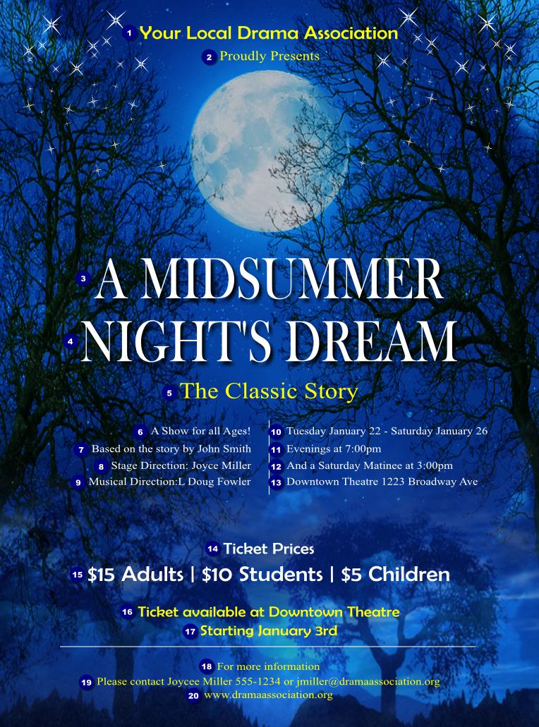 midsummer night u0026 39 s dream flyer
