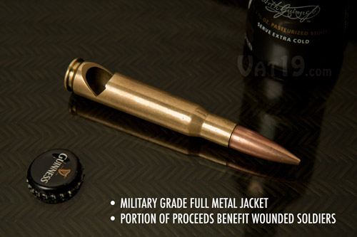 .50 Cal Bottle Opener on a table.
