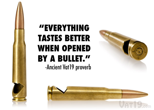 The .50 Caliber Bullet Bottle Opener from multiple views.