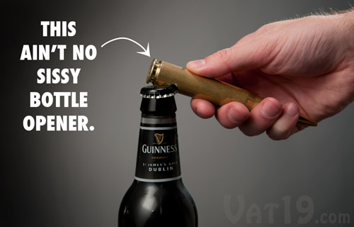 The .50 Caliber Bottle Opener opening a beer.