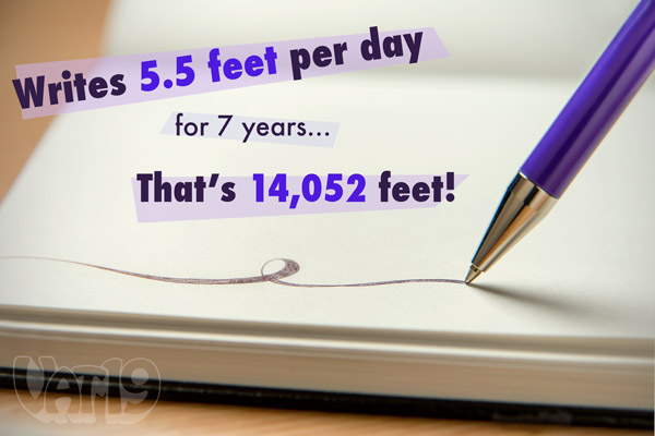 The 7-Year Pen can write a distance of over 2.5 miles.