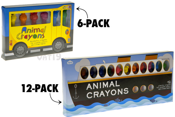 Animal Crayons are available in a 6-pack or 12-pack.