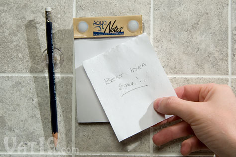 Aquanotes Waterproof Notepad features 40 tear-off waterproof sheets.