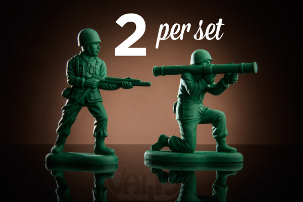 Army Men Erasers are sold in a set of two.