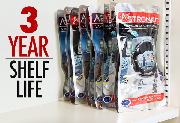 Astronaut Foods have a 3 year shelf life.